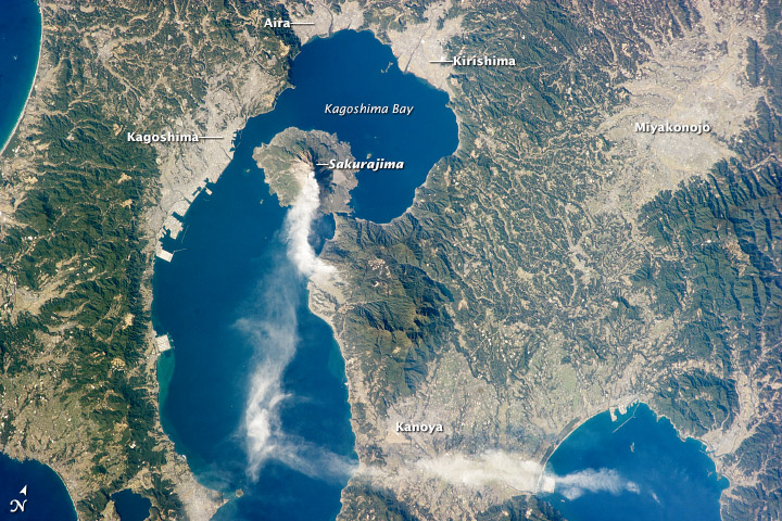 An image taken from the International Space Station showing Kagoshima and its surroundings on January 10, 2013  (Image credits: Wikipedia.org)