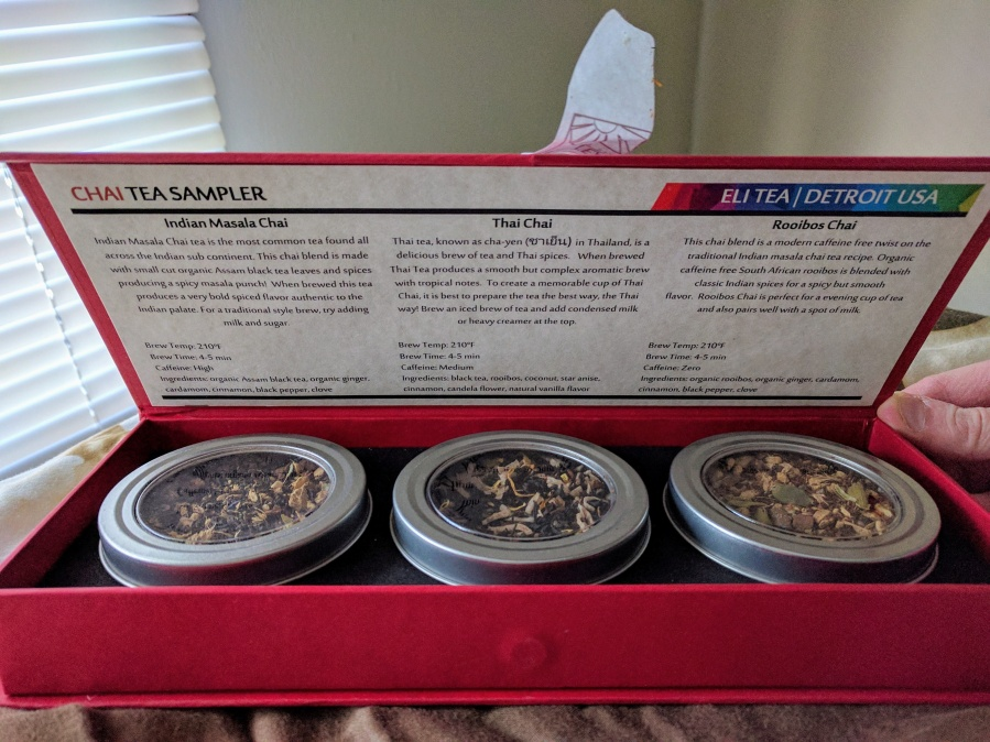 Image of Excursion: Eli Tea Spring 2017 ~ Chai Gift Box by Jocilyn Mors is licensed under a Creative Commons Attribution-NonCommercial-ShareAlike 4.0 International License.